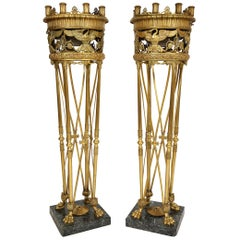Pair of Fine Ormolu and Green Marble Eight-Light Torcheres/Centerpieces