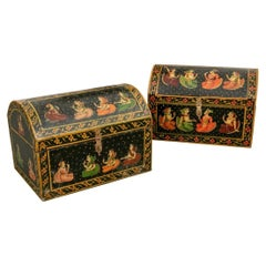Pair of Fine Painted Indian Dome Top Trunks