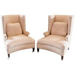 Pair of Fine Quality Custom Modern Wing Chair