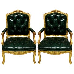 Pair of Fine Regence Giltwood Fauteuils in Racing Green Leather