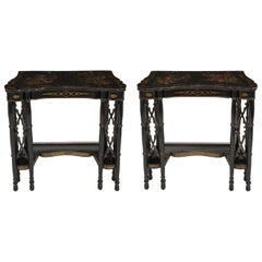 Pair of Fine Regency Black Painted and Chinese Lacquer Side Tables