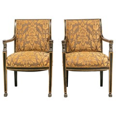 Pair of Fine Regency Style Paint Decorated Armchairs