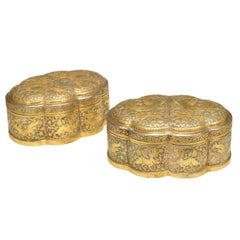 Pair of Fine Repousse Elegant Form Boxes