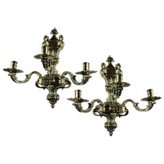 Pair of Fine Silver Plated Bronze Knole Wall Sconces