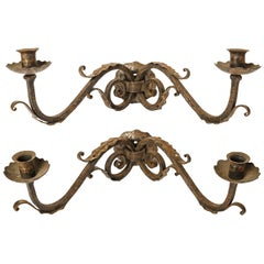 Pair of Fine Two-Arm Wrought Iron Sconces