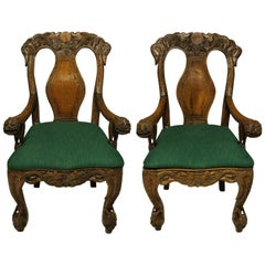 Pair of Finely Carved 19th Century Chinese Armchairs