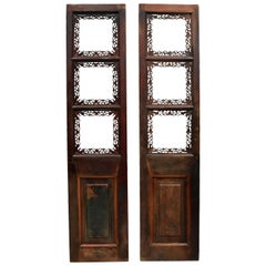 Pair of Finely Carved Chinese Antique Screens, Gourds and Butterflies
