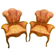 Pair of Finely Carved Grosfeld House Sweetheart Chairs, Mid-Century Modern