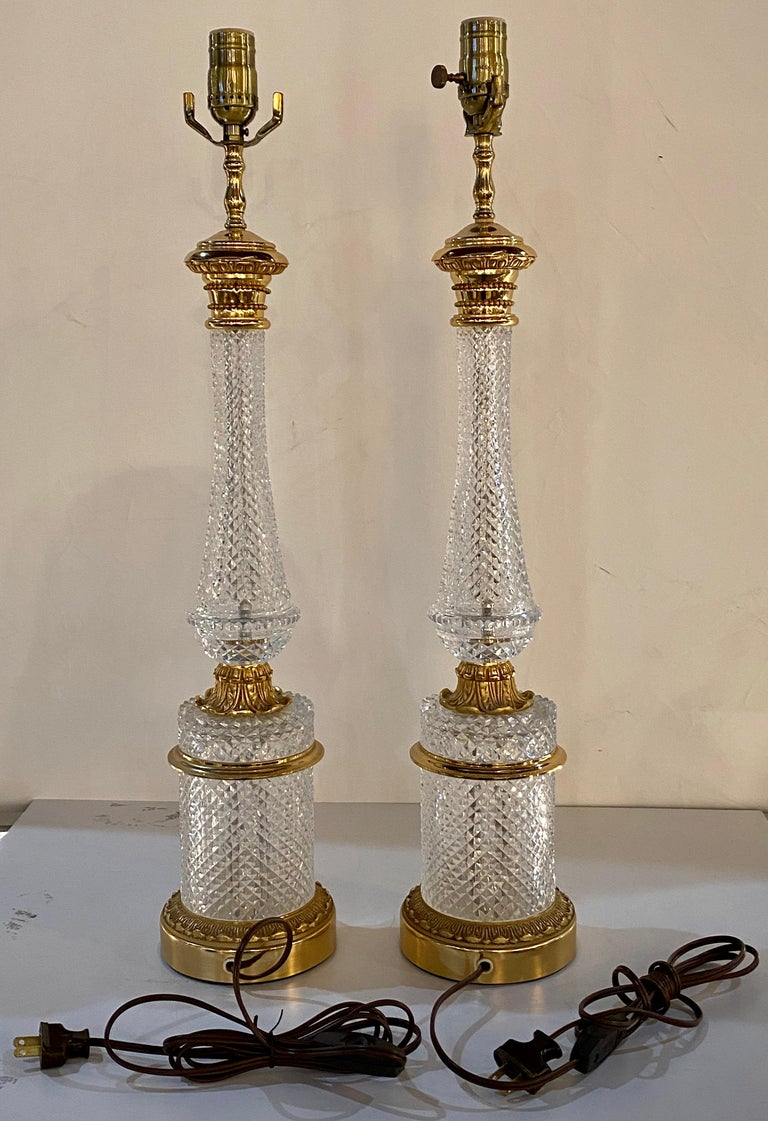 Pair of Finely Cut Glass Table Lamps with Bronze Mounting Baccarat Style For Sale 7