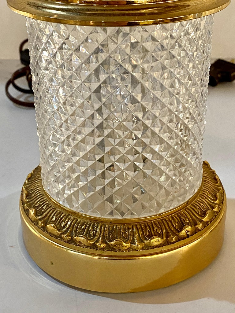 Hollywood Regency Pair of Finely Cut Glass Table Lamps with Bronze Mounting Baccarat Style For Sale