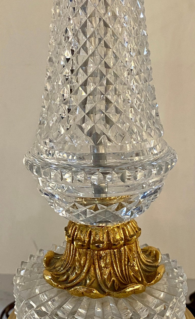 Pair of Finely Cut Glass Table Lamps with Bronze Mounting Baccarat Style For Sale 1