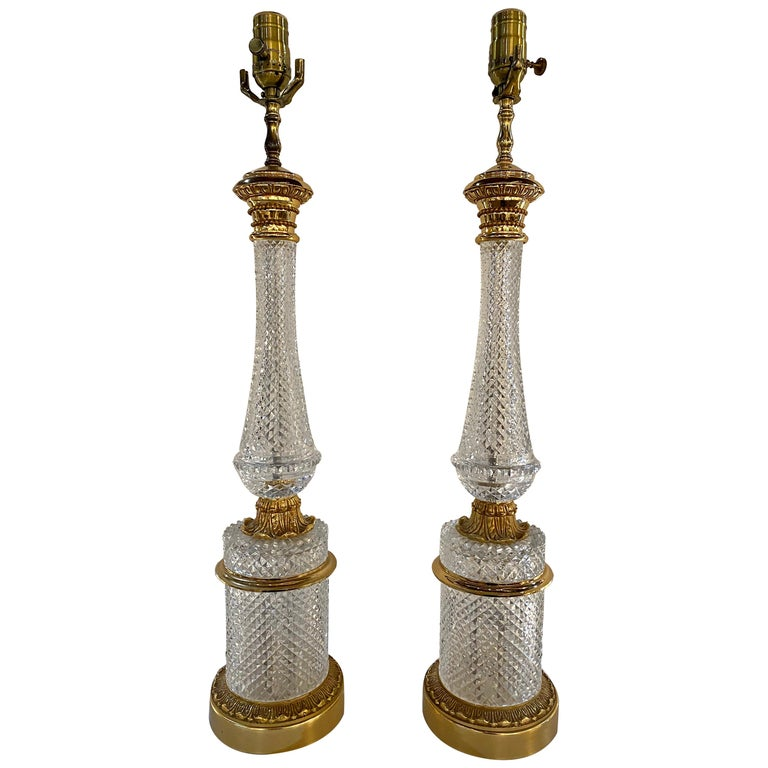 Pair of Finely Cut Glass Table Lamps with Bronze Mounting Baccarat Style For Sale