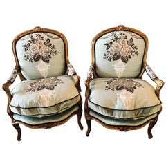 Pair of Finely Upholstered Louis XV Style Gilt Bergere or Arm Chairs
