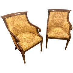 Pair of Finely Upholstered Smith and Watson Office, Bergere Fireside Armchairs