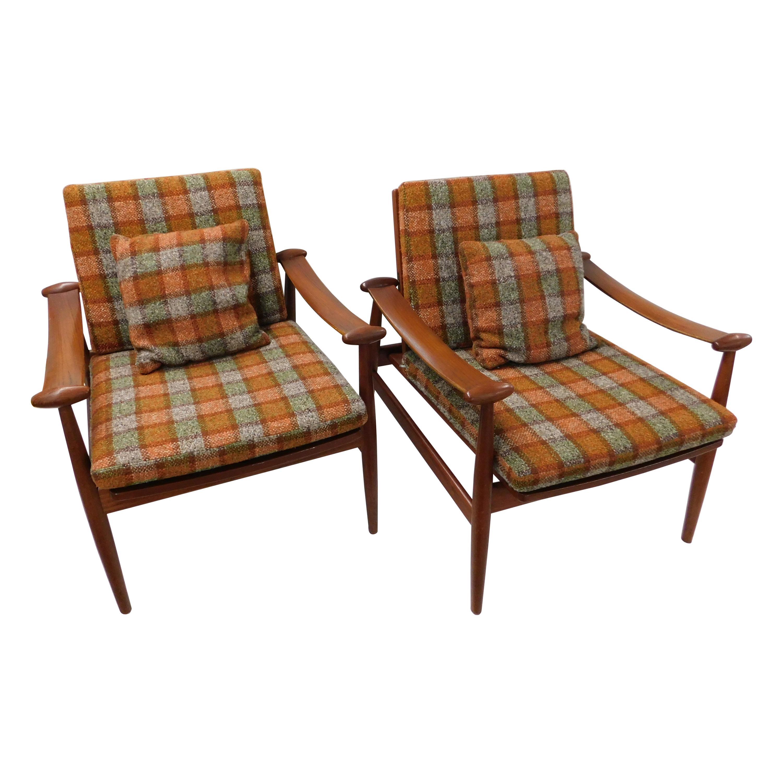 Pair of Finn Juhl 1953 Spade Teak Lounge Chair by France & Daverkosen Denmark