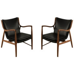 Pair of Finn Juhl Midcentury Danish Teak and Black Leather Armchairs