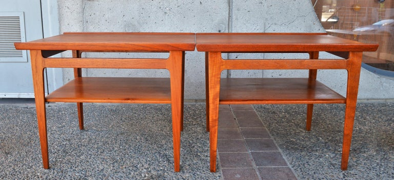 This exquisite pair of Danish modern solid teak side tables Model 535 were designed by Finn Juhl for France & Son - see their early logo (F&F), in the 1950s. Although we've had these tables before, we've never had a pair and we've never even seen