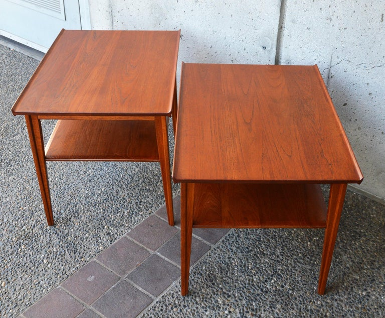 Mid-Century Modern Pair of Finn Juhl Solid Teak Side Tables with Shelves Model 535 for France & Son For Sale