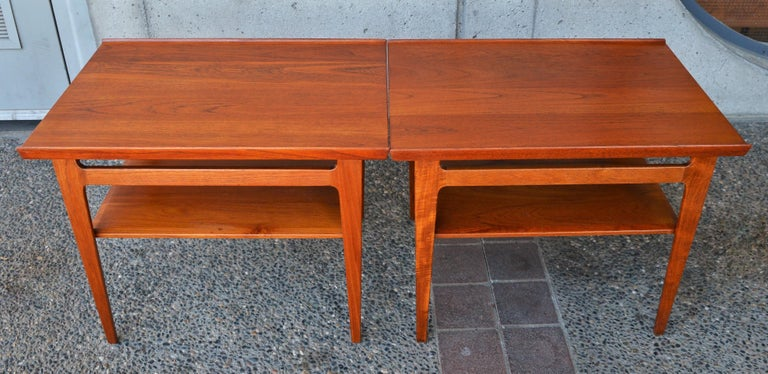 Brass Pair of Finn Juhl Solid Teak Side Tables with Shelves Model 535 for France & Son For Sale