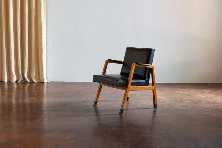 Leather Pair of Finnish Armchairs by Lasse Ollinkari and Arne Ervi, 1940s For Sale