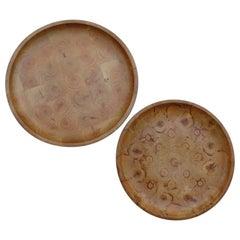 Pair of Finnish Hand Produced Juniper Wooden Block Tray Plates, 1970s, Finland