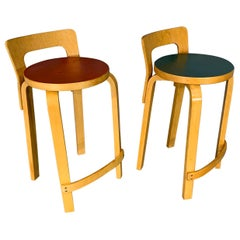 Pair of Finnish Mid-Century Modern Alvar Aalto Bar Stools / High Chair for Artek