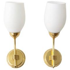 Pair Scandinavian Modern Polished Brass Opaline Glass Sconces Finland