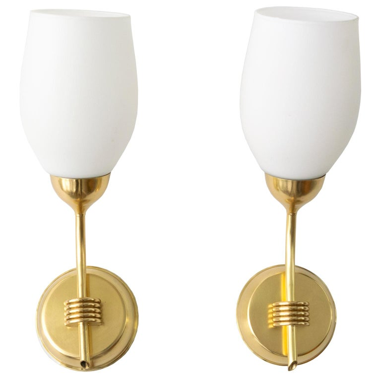 Pair of Finnish Mid-Century Modern Polished Brass and Opaline Glass Sconces For Sale