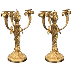 Pair of Fire Gilt Bronze Three-Arm Candelabra