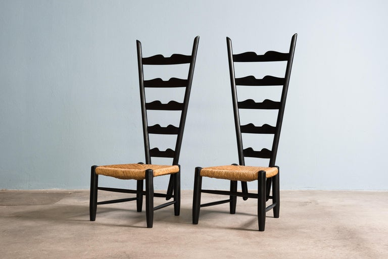Pair of fireside chairs by Gio Ponti for Casa e Giardino, Italy, circa 1939 Excellent condition.
