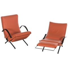 Pair of First Edition P40 Lounge Chair Leather by Osvaldo Borsani for Tecno