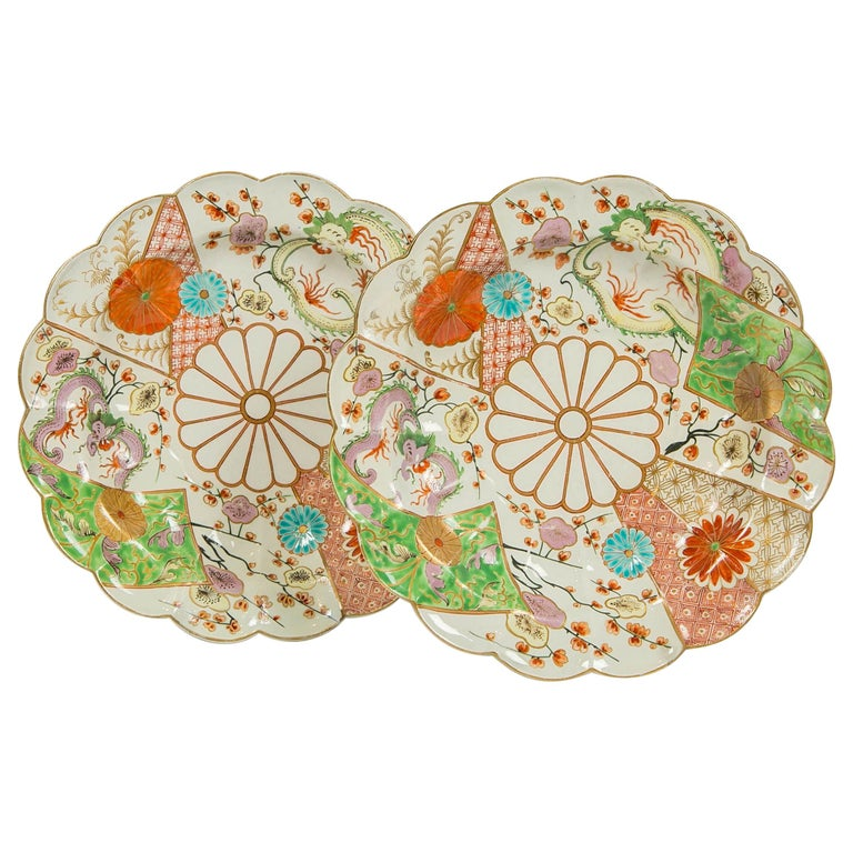 """Pair of First Period Worcester """"Brocade"""" Pattern Dishes For Sale"""