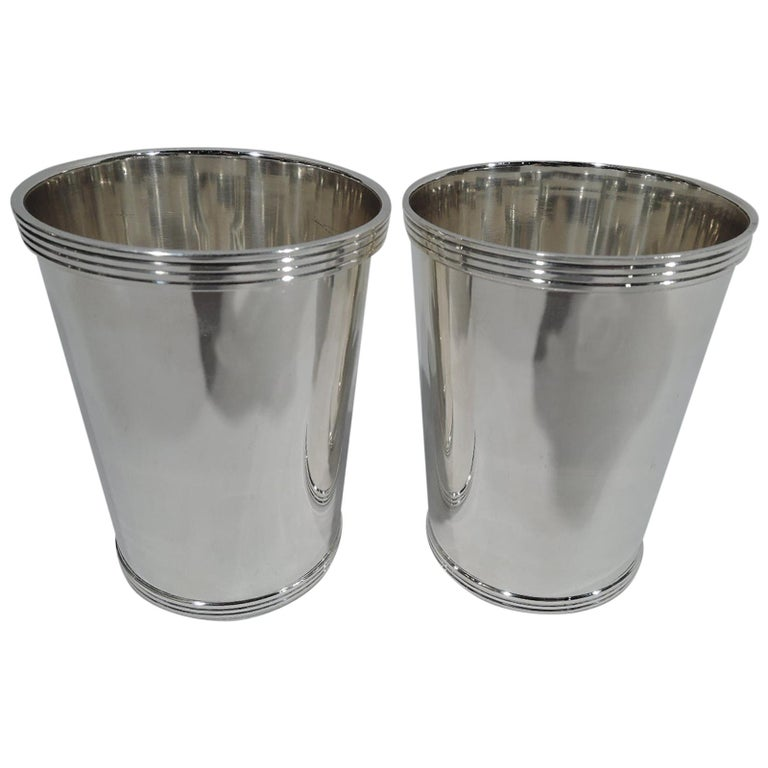 Pair of Fisher Traditional Sterling Silver Mint Julep Cups For Sale