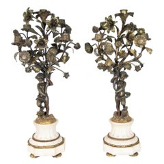 Pair of Five Hole Cupid Candelabra