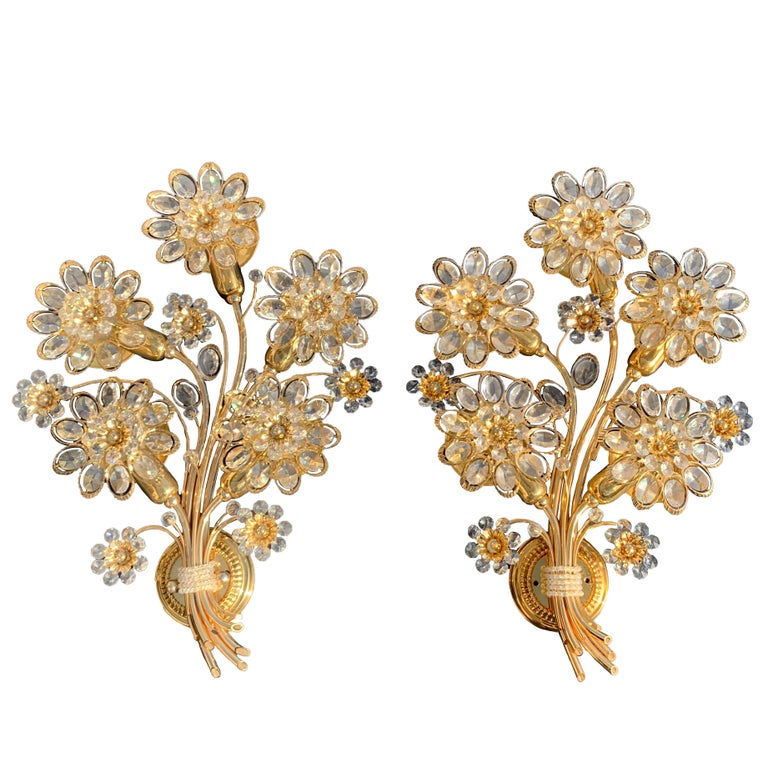 Pair of Five-Light Brass Palwa Wall Sconce For Sale