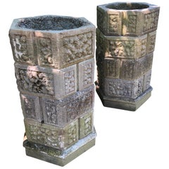 Pair of Five-Tier French Octagonal Stackable Cast Stone Planters