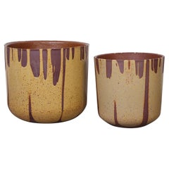 Pair of Flame Glazed Planters by David Cressey