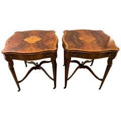 Pair of Flame Mahogany End Tables Occasional Side
