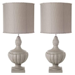 Pair of Flame Shaped Ceramic Table Lamps