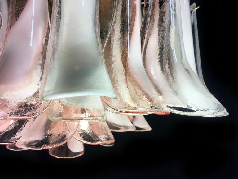 Pair  'Flamingo' Petal  Italian Chandeliers Ceiling Lights, Murano 4
