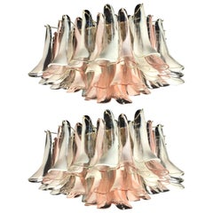 Pair  'Flamingo' Petal  Italian Chandeliers Ceiling Lights, Murano
