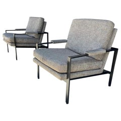Pair of Flat Bar Arm Chairs by Milo Baughman