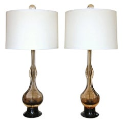 Pair of Flavio Poli Seguso Sommerso Murano Brown Glass Table Lamps