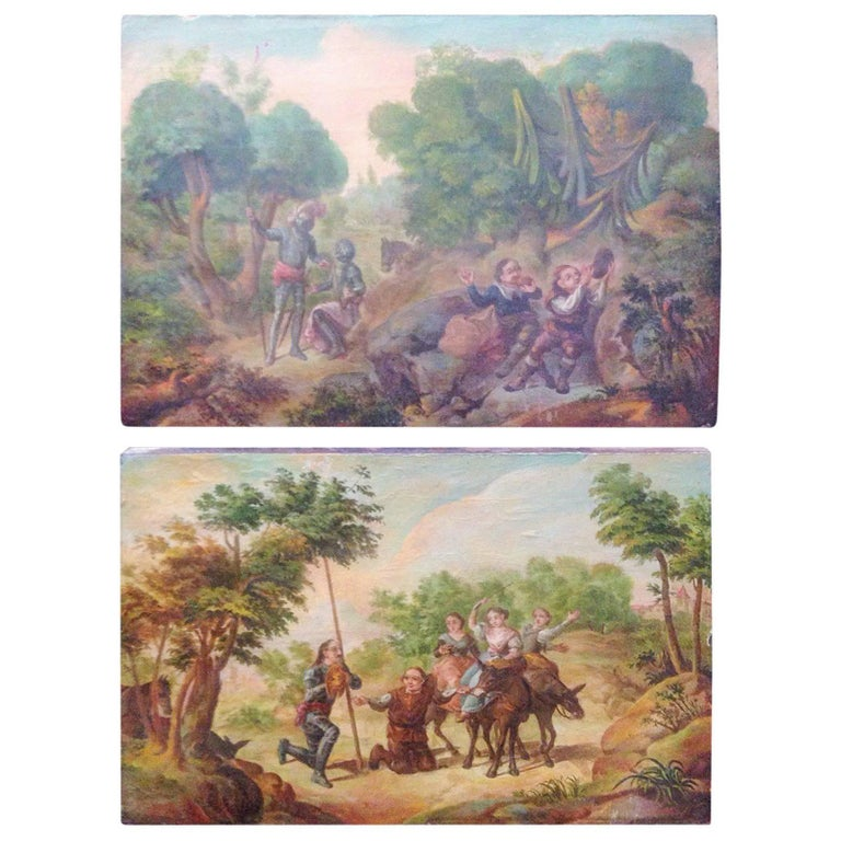 Pair of Flemings Baroque Oil on Panel Painting, 16th Century, Fine Art