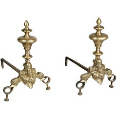 Pair of Flemish Baroque Bronze Andirons