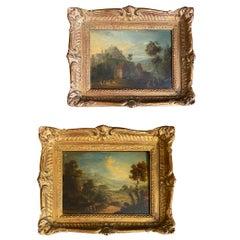 Pair of Flemish Oil on Copper Landscape Paintings