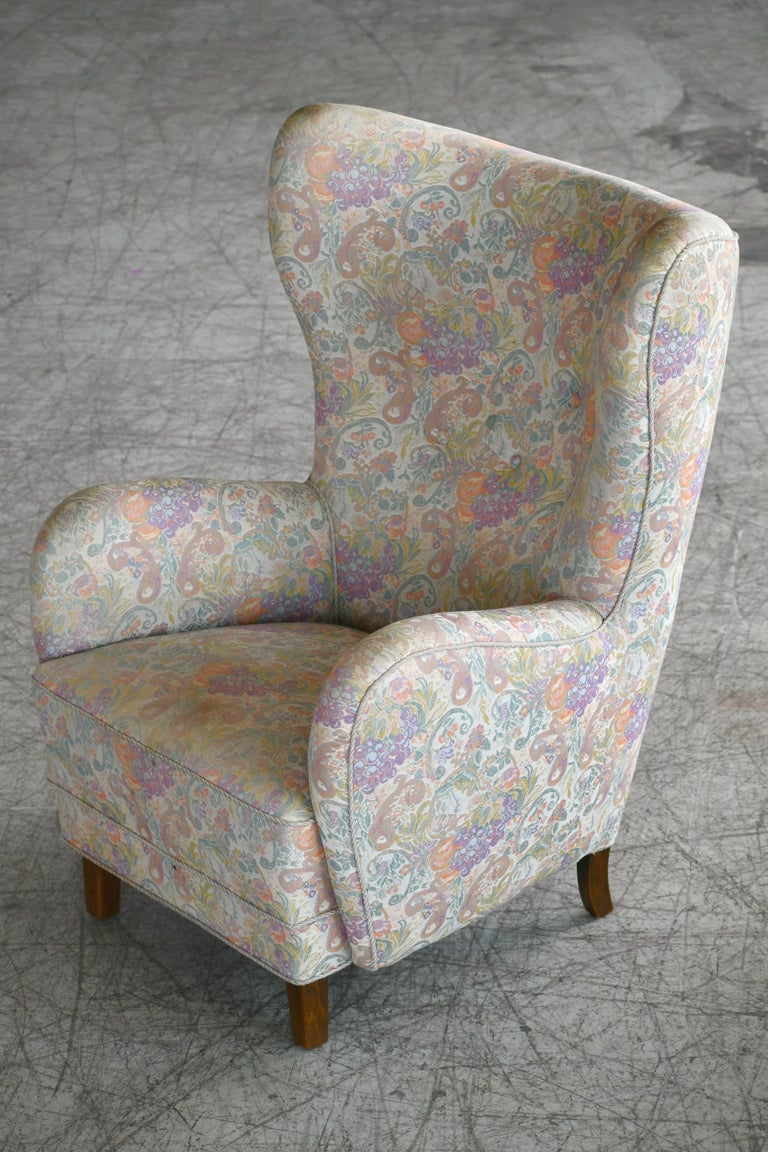 Pair of Flemming Lassen Attributed High Back Lounge Chairs, Denmark, 1940s For Sale 3