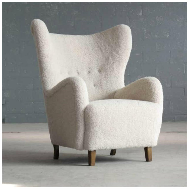 Pair of Flemming Lassen Attributed High Back Lounge Chairs, Denmark, 1940s For Sale 4