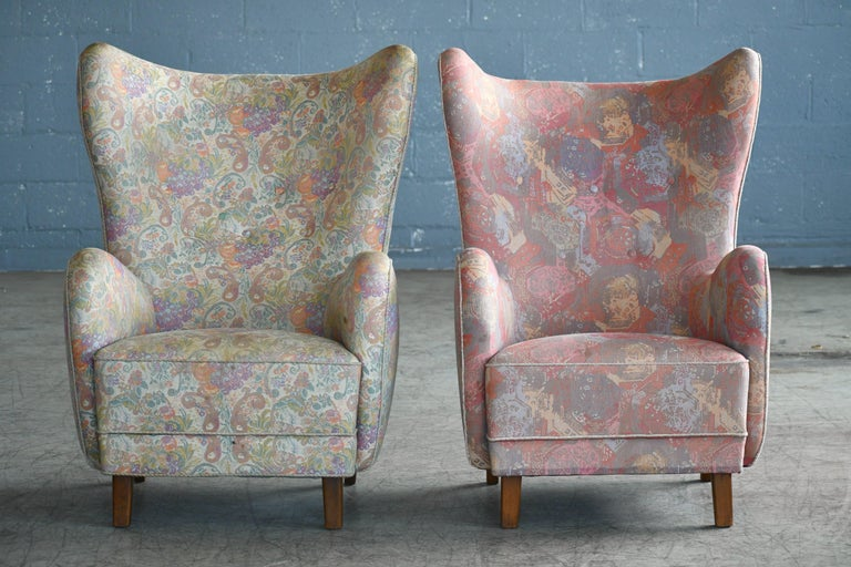 Pair of Flemming Lassen Attributed High Back Lounge Chairs, Denmark, 1940s In Good Condition For Sale In Bridgeport, CT