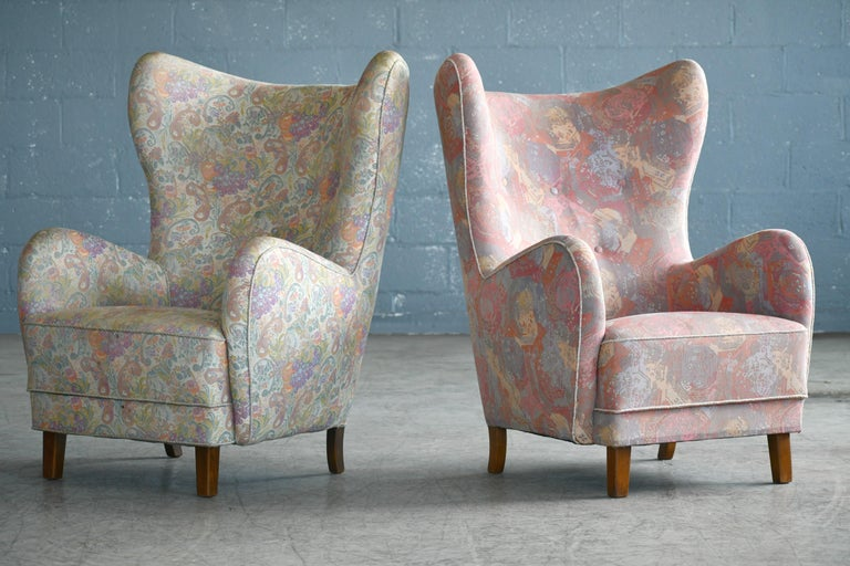 Mid-20th Century Pair of Flemming Lassen Attributed High Back Lounge Chairs, Denmark, 1940s For Sale